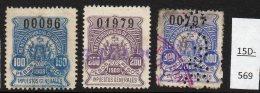 Argentina / Cordoba Province Revenue Fiscal Impuestos Generales 1908 100P, 200P, 300P Used. - Argentina