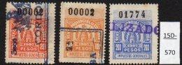 Argentina / Cordoba Province Revenue Fiscal Impuestos Generales 1907 20P, 100P, 200P Used. - Argentine