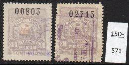 Argentina / Cordoba Province Revenue Fiscal Impuestos Generales 1906 200P, Both Halves Used. - Argentina