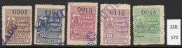 Argentina / Cordoba Province Revenue Fiscal Impuestos Generales 1909 100P-500P Used (5). - Argentina