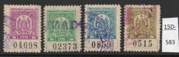 Argentina / Cordoba Province Revenue Fiscal Impuestos Generales 1914 100P, 200P, 400P, 500P, Used (4). - Argentina