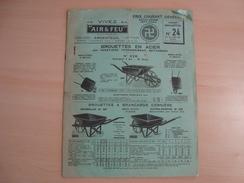 """Documents Publicitaires VIVEZ S A """"AIR ET FEU"""" ARGENTEUIL BROUETTES 1932 - France"""