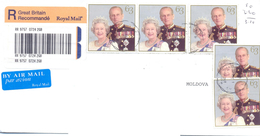 2002. Great Britain, The Letter Sent By Recommande Post To Moldova - 1952-.... (Elizabeth II)