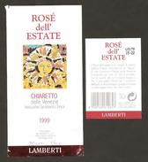 ITALIA - Etichetta Vino BARDOLINO 1999 Cantina LAMBERTI Di Pastrengo Rosato Del VENETO - Sole - Vino Rosato