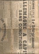 8 Mai 1945 Le Télégramme De Brest Et De L'Ouest L'Allemagne A Capitulé Sans Conditions - Journaux - Quotidiens