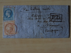 Ballon Monté LAFAYETTE, Cachets: Départ PARIS SC Rouge, Ambulant Paris à Lille, à Destination De La BELGIQUE. - 1849-1876: Klassieke Periode