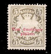 Bavaria, Scott #J12, Mint Hinged, Coat Of Arms Overprinted, Issued 1895 - Bavière