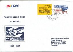 Sweden Cover SAS Philatelic Club 40 Years Anniversary Special Postmark Stockholm Flyg 4-9-1991 - Sweden