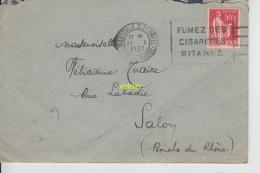 Timbre Sur Lettre 1937 - Marcophilie (Lettres)