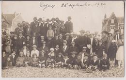 """CARTE PHOTO DE CAYEUX EN 1920 : VILLA """" APRES LE BAIN - PREN...? """" - BELLE SCENE DE PLAGE - 2 SCANS - - Cayeux Sur Mer"""