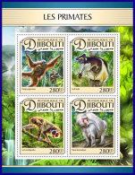 DJIBOUTI 2017 ** Primates Monkey Primaten Affen Singes M/S - OFFICIAL ISSUE - DH1711