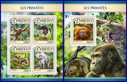 DJIBOUTI 2017 ** Primates Monkey Primaten Affen Singes M/S+S/S - OFFICIAL ISSUE - DH1711