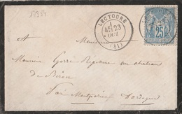 17384# SAGE LETTRE Obl LECTOURE 1877 GERS Pour CHATEAU DE BIRON MONTPAZIER DORDOGNE Au Dos CONVOYEUR STATION TARBES AGEN - Postmark Collection (Covers)