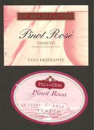 ITALIA - 2 Etichette Vino PINOT ROSE' Cantine CA' DEI BIZANTINI E VILLA DEGLI OLMI Rosato Del VENETO - Vino Rosato
