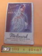 Droguerie Oranaise ROBERT Carte Parfumée Molinard Grasse Parfum Orval- Calendrier Publicitaire Ch.ORAN Petit Format:1951 - Petit Format : 1941-60