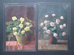 AK 1919 Germania Frankatur / DR Blumen  / Blumenvase / Rosen. CM &S Serie 201 Nr. 3 Und Serie 204 Nr. 21 - Blumen