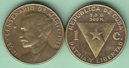 1953-MN-118 CUBA 1953 1c JOSE MARTI. BRONCE. VF - Cuba
