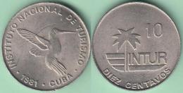 "1981-MN-115 CUBA 1981 INTUR 10c Cuc ZUNZUN BIRD AVES. ""10"" CENT IN REVERSE. CUPRO-NI. XF. - Cuba"