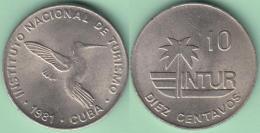 "1981-MN-118 CUBA 1981 INTUR 10c Cuc ZUNZUN BIRD AVES. ""10"" CENT IN REVERSE. CUPRO-NI. UNC. - Cuba"