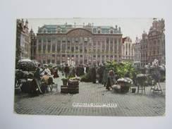 016G/ Bruxelles Editeur VO-DW Anvers  2 Timbres 1911 Grand Place Très Animée Couleurs