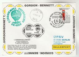 1987 BALLOON FLIGHT COVER Gordon Bennett ATOMIC ENERGY CONFRENCE Nuclear IAEA United Nations Stamp Ballooning Austria Un - Transport