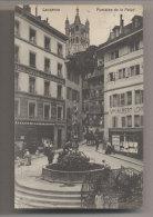 SUISSE - LAUSANNE - 1909 - Fontaine Palud - COMMERCES - Animée - VD Vaud
