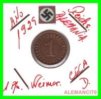 GERMANY  -   MONEDA  DE  1- REICHSPFENNIG  AÑO 1929 D   Bronze - 1 Rentenpfennig & 1 Reichspfennig