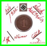 GERMANY  -   MONEDA  DE  1- REICHSPFENNIG  AÑO 1930 D   Bronze - 1 Rentenpfennig & 1 Reichspfennig