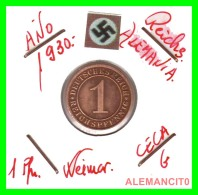 GERMANY  -   MONEDA  DE  1- REICHSPFENNIG  AÑO 1930 G   Bronze - 1 Rentenpfennig & 1 Reichspfennig