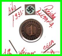 GERMANY  -   MONEDA  DE  1- REICHSPFENNIG  AÑO 1931 A   Bronze - 1 Rentenpfennig & 1 Reichspfennig