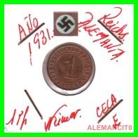 GERMANY  -   MONEDA  DE  1- REICHSPFENNIG  AÑO 1931 E   Bronze - 1 Rentenpfennig & 1 Reichspfennig