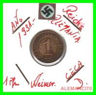 GERMANY  -   MONEDA  DE  1- REICHSPFENNIG  AÑO 1911 D   Bronze - 1 Rentenpfennig & 1 Reichspfennig