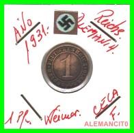 GERMANY  -   MONEDA  DE  1- REICHSPFENNIG  AÑO 1931 F   Bronze - 1 Rentenpfennig & 1 Reichspfennig