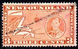 XP2947 - NEWFOUNDLAND 1937 ,  Gibbons 3 Cent N. 258  Usato - Newfoundland