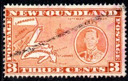 XP2947 - NEWFOUNDLAND 1937 ,  Gibbons 3 Cent N. 258  Usato - 1865-1902