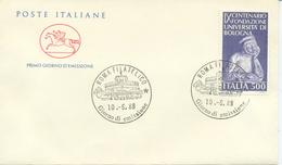 ITALIA - FDC  CAVALLINO  1988 - UNIVERSITA´ DI BOLOGNA - 1946-.. République