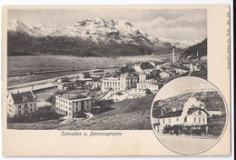 SAMADEN. 2-Bild-AK Mit Bahnhof, Dampfzug ~1900 - GR Grisons