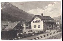 SCANFS. Bahnhofquartier Mit Bahnangestellten, Güterwagen 1917 - GR Grisons