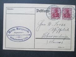 DR 1922 Germania MeF / Waagerechtes Paar Postkarte Herm. Marquardt Spezial Schuhwaren Wilhelmsburg (Elbe) - Deutschland