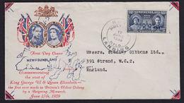 B0197 NEWFOUNDLAND 1939, SG 272 Royal Visit  FDC - 1908-1947