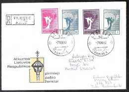 1990 Lithuania / Litaeun - The First Lithuanian Stamps After USSR - Cover Run On Day Of Issue From Lithuania To Latvia
