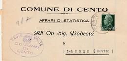 6172 Lc.  Piego Cento Ferrara Podestà Loreo Rovigo 1932 - Marcophilie