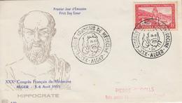 Enveloppe  FDC  1er  Jour  ALGERIE   XXXéme  Congrés  Français  De  Médecine   1955 - Algérie (1924-1962)