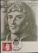 "PORTUGAL Maximum Card / Postal Maximo - João Gonçalves Zarco - Funchal, 06.03.1990 - ""Os Maximafilistas Portugueses"" - Maximumkarten (MC)"