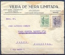 1931 , GUINEA ESPAÑOLA  ED. 219 , 221 , SOBRE COMERCIAL CIRCULADO ENTRE SANTA ISABEL Y OPORTO - Guinea Española