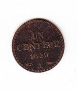 FRANCE KM 754, 1 Ct, 1849 A .   (DP164) - A. 1 Centime
