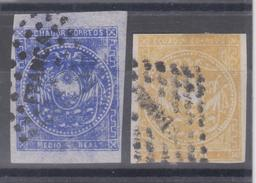 ECUADOR 1865-1872 HALF REAL BLUE & 1 REAL YELLOW CANCELLED LOZANGE FRANCA FROM GUAYAQUIL NICE CONDITION SC# 2-4 - Equateur