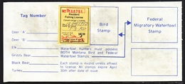U.S.  MONTANA WILDLIFE  LICENSE  (o)  1976 - Duck Stamps