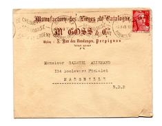 ENVELOPPE DE PERPIGNAN POUR MARSEILLE DU 14/10/1949 FLAMME LE CHEQUE POSTAL ECONOMISE TEMPS ET ARGENT - Marcophilie (Lettres)