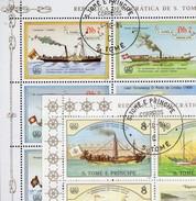3+4 Schiffe 1984 St.Thomas-Insel 912/5+916/9 KB O 30€ St.Gallen Helvetia Dampfer Blocs Ships Sheetlets Bf Sao Tome - Sao Tome Et Principe